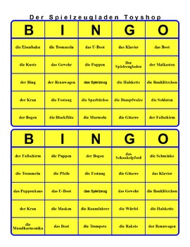 BINGO GAME FOR TOYS SPIELZEUG with wordsearch and flashcards