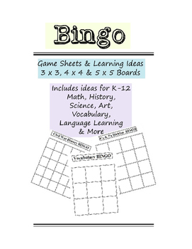 BINGO Game Sheets with Learning Activity Ideas 3x3 4x4 5x5 Vocabulary Math