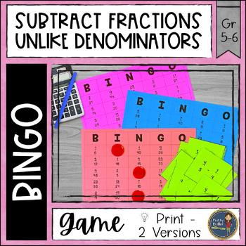 Subtracting Fractions Unlike Denominators BINGO Math Game
