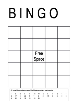 BINGO Game for Solving Equations with Combining Like Terms