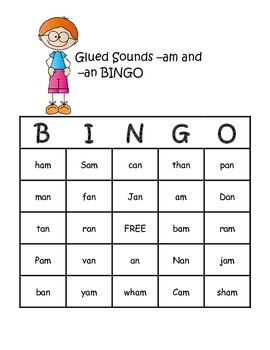 BINGO Game with Glued Sounds -am and -an