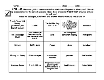 BINGO!  Heritage, Immigration, Culture - Common Core close reading of nonfiction