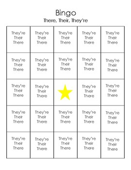 BINGO Homophones there, their, and they're
