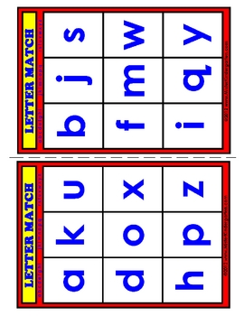 BINGO: Lowercase Letters