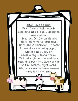 BINGO MOOOOOO!!! First Grade Sight Words (Common Core Standards)