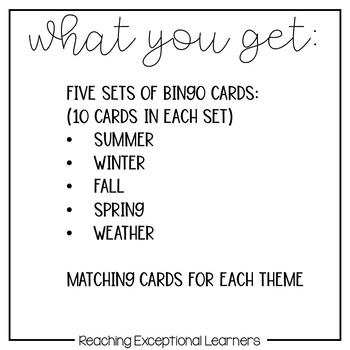 BINGO & Matching Games for the Special Education Classroom SET 3