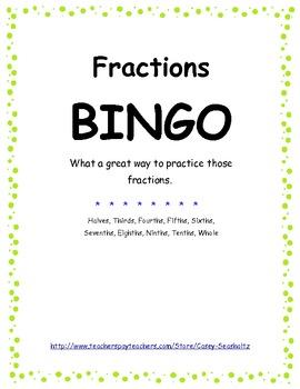 BINGO: Math Fractions Game
