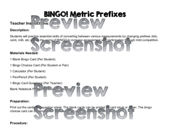 BINGO! Metric Prefixes