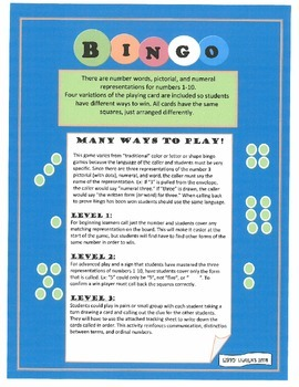 BINGO!- numerals, dots, and number words