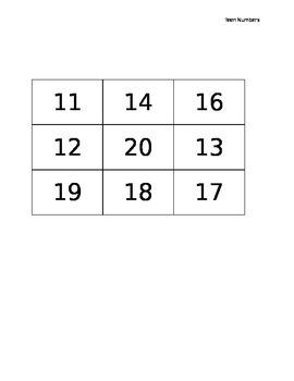 BINGO OR Tic-Tac-Toe (Teen Numbers)