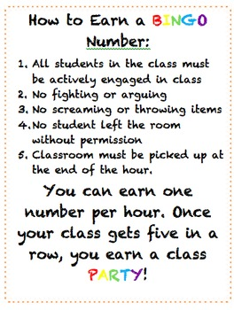 BINGO Classroom Reward System