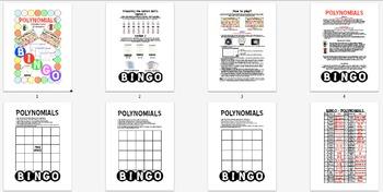 BINGO - POLYNOMIALS (Power Point Version) + 24 BINGO MATS