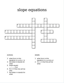 Slope equations Crossword (slope intercept, and point slope)