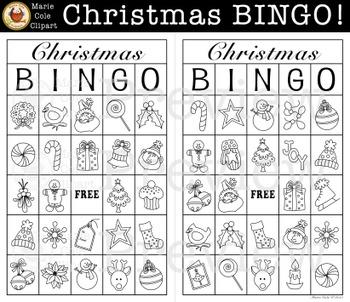 Christmas BINGO! Printable Game [Marie Cole Clipart]