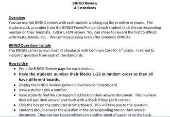 BINGO Review Common Core 5th Grade Math All Standards