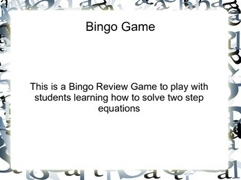 BINGO Review game - Solving equations - Common Core Aligned