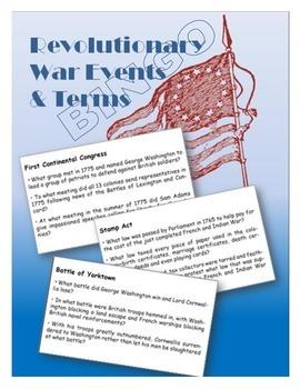 Revolutionary War Events and Terms BINGO
