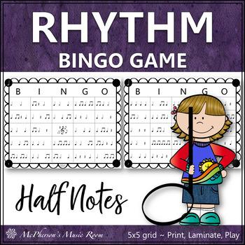 Half Note Rhythm Bingo Game