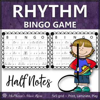 Half Note Rhythm Bingo Game