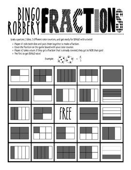 BINGO Robbery: Identifying Fractions/Equivalent Fractions