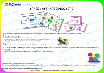 BINGO SPACE and SHAPE  Set 3