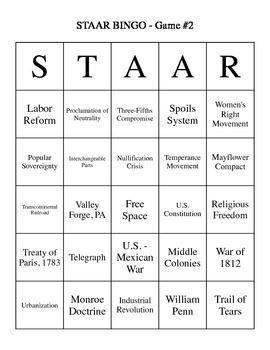 US History 8 BINGO SS STAAR Review #2 - 30 BINGO Cards