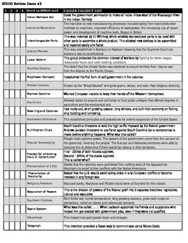 US History 8 BINGO SS STAAR Review #2 - CALLOUT SHEET by ...