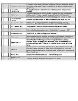 US History 8 BINGO SS STAAR Review #2 - CALLOUT SHEET