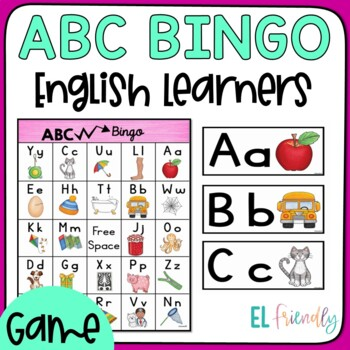 BINGO School Words for Newcomer Students Plus Bonus-ABC Activity