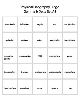 BINGO Science & Physical Geography A1 Question Cards & Bingo Cards