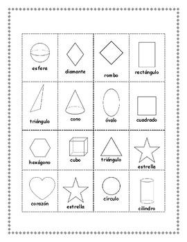 BILINGUAL Bingo Shapes Bingo Figuras