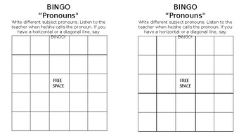 BINGO Spanish Subject Pronouns