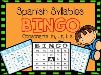 BINGO - Spanish Syllables - m, s, t, r, l