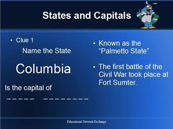 BINGO: States and Capitals with PowerPoint Presentation