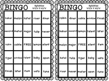 BINGO: Syllables V/CV & VC/V