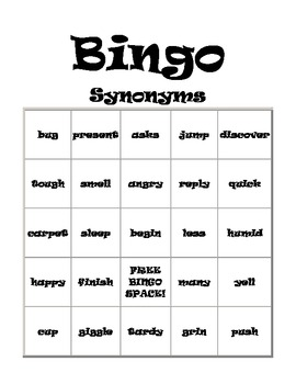 BINGO- Synonyms
