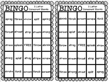BINGO: Three Letter Consonant Blends