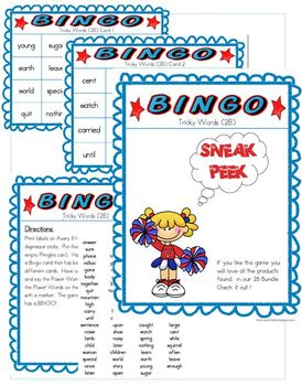 BINGO Tricky Words