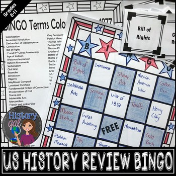 U.S. History Midterm, EOC, and Final Exam Review Game - Bingo
