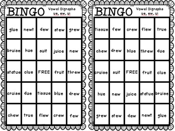 BINGO: Vowel Digraphs ue, ew, ui