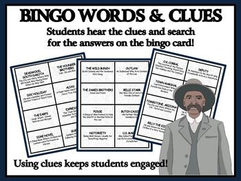 READING PASSAGES AND BINGO - Wild West Outlaws and Lawmen