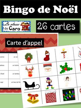 BINGO de NOËL EN COULEUR- 26 CARTES!
