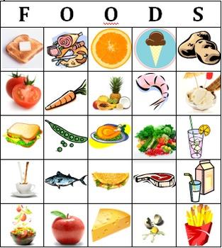 BINGO - food (ESL, Spanish, French, etc.)