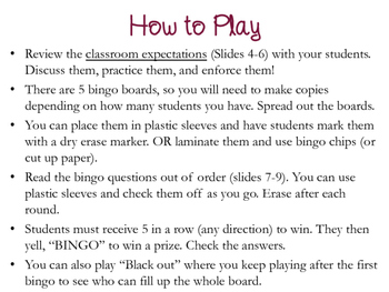BINGO for Classroom Management and Expectations