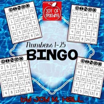 Bingo For Numbers 1 25 By Mrs Joy Hall Teachers Pay Teachers