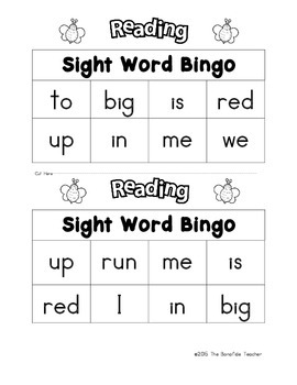 BINGO for Pre-K and Kindergarten featuring Sight Words and Numbers