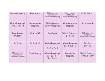 BINGO for Teaching Properties of Math