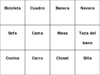 BINGO house parts (English and Spanish)
