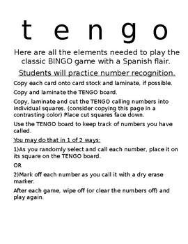 BINGO in Spanish -TENGO - printable - no prep - Spanish Number Practice