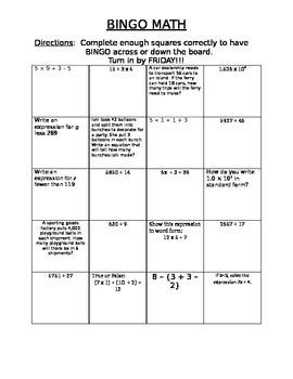 BINGO math review